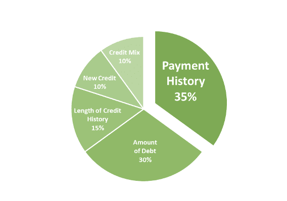 Payment History is 35% of your credit score.